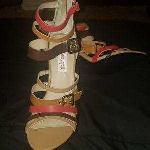 Tan, Brown, And Red Strappy Heels